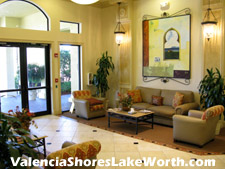 This tastefully decorated lobby welcomes you and your guests to the Valencia Shores Athletic Clubhouse