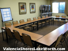 meetings of various Valencia Shores clubs as well as meetings to discuss community affairs are held in this room.