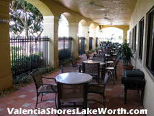 If you are not of a mind to recline on a lawn chair next to the pool, these seating areas are a great way to enjoy the ambience of the Valencia Shores clubhouse outside areas.