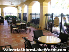 There are plenty of outdoor seating areas around the social clubhouse at Valencia Shores.