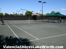 These tennis courts are lighted and also provide a shaded pavilion with water fountain.