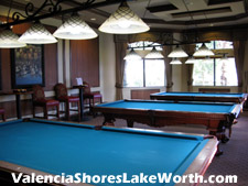 Sink one in the corner pocket at the Valencia Shores billiards room.