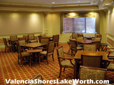 There are a total of four card rooms within the social clubhouse at Valencia Shores in Lake Worth, FL in which residents can get together to play bridge, poker, etc...